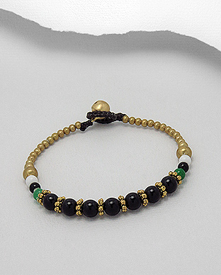 <b>Brass bracelet with onyx semi gem stones</b>