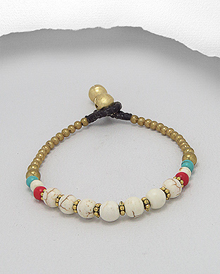 <b>Brass bracelet with howlite semi gem stones</b>