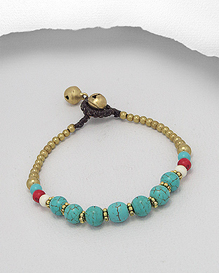 <b>Brass bracelet with turquoise(R) </b>