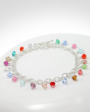 <b>Silver and colorful crystals bracelet</b>