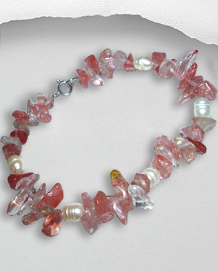 <b>Exclusive rose quartz and pearls bracelet</b>