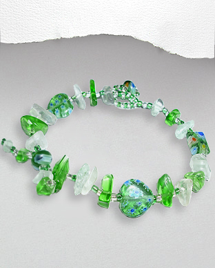 <b>Exclusive millefiori glass - semi gem stones bracelet - green