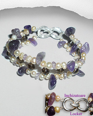 <b>Exclusive semi gem stones - pearls bracelet</b>