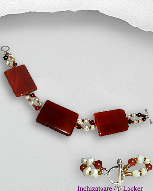 <b>Exclusive agate,carnelian and pearls bracelet</b>