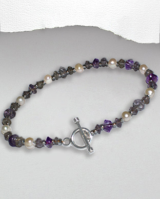 <b>Exclusive amethyst - natural pearls bracelet</b>