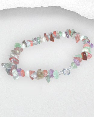 <b>Exclusive tourmaline, fluorite and pearls bracelet</b>