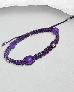 <b>Exclusive cotton - silver - amethyst bracelet</b>