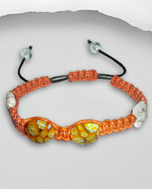 <b>Exclusive cotton - millefiori bracelet - orange</b>