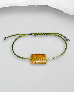 <b>Exclusive bracelet - silver and millefiori on waxed cotton- l