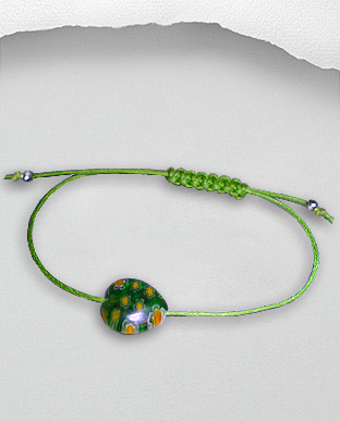 <b>Exclusive bracelet - silver and Millefiori on waxed cotton -