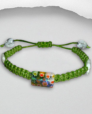 <b>Exclusive cotton - millefiori bracelet - light green</b>
