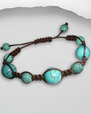 <b>Exclusive cotton - turquoise bracelet - dark brown</b>