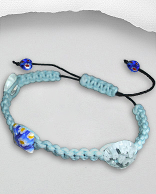 <b>Exclusive cotton - millefiori bracelet - light blue</b>