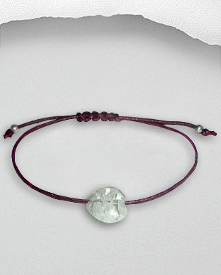 <b>Exclusive bracelet - silver-Millefiori-waxed cotton - purple