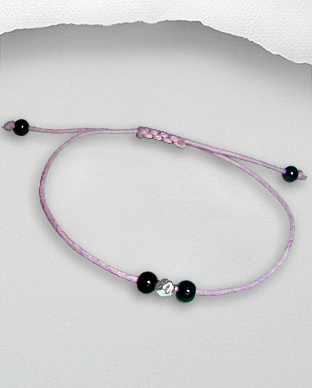 <b>Exclusive bracelet - silver and onyx - waxed cotton - pink