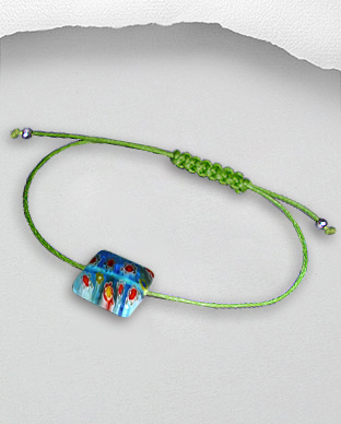 <b>Exclusive bracelet - silver - millefiori - waxed cotton - lig