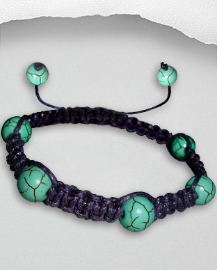 <b>Exclusive cotton - turquoise bracelet - violet</b>