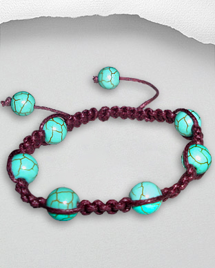<b>Exclusive cotton - turquoise bracelet - purple</b>