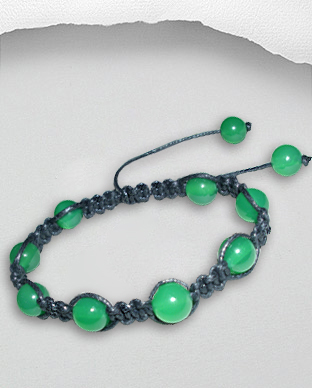 <b>Exclusive cotton - green onyx bracelet - black</b>