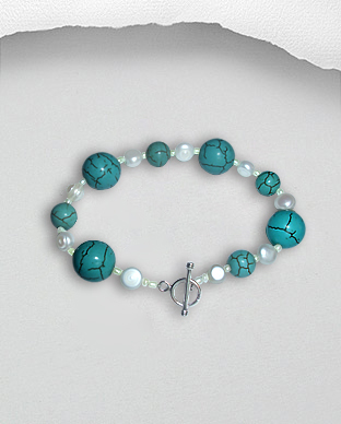 <b>Exclusive silver-pearls-turquoise bracelet</b>