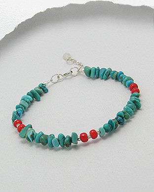 <b>Fancy silver, turquoise and glass bracelet</b>