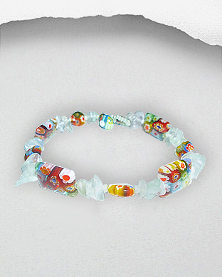 <b>Silver and colored crystal glass anklet</b>