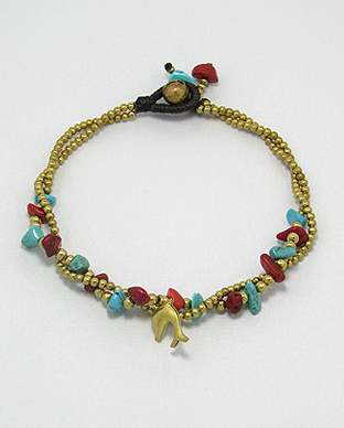 <b>Brass, turquoise (R) and coral anklet</b>