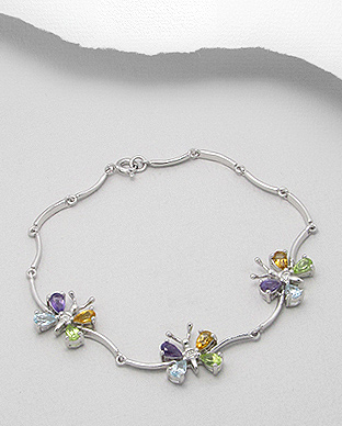 <b>Silver bracelet with amethyst, citrine, peridot and topaz gem