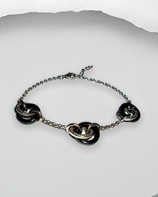 <b>Silver bracelet with black onyx and white zirconia <b>