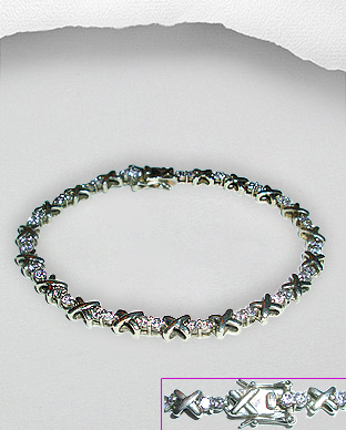 <b>Silver bracelet with white zirconia <b>