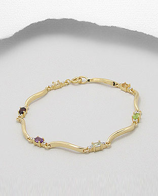 <b>Bracelet with amethyst, garnet, citrine, peridot and topaz se