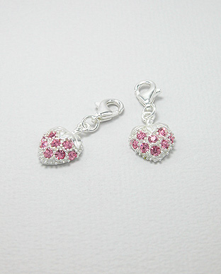 <b>Silver-zircon charm - strawberry</b>
