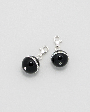 <b>Charm - sterling silver - black agate </br>