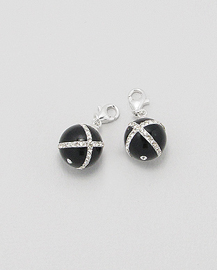<b>Interesting charm - sterling silver - black agate </b>