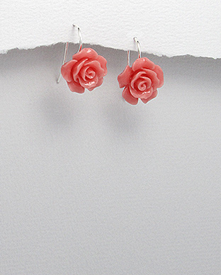 <b>Pink resin and silver earrings - roses</b>