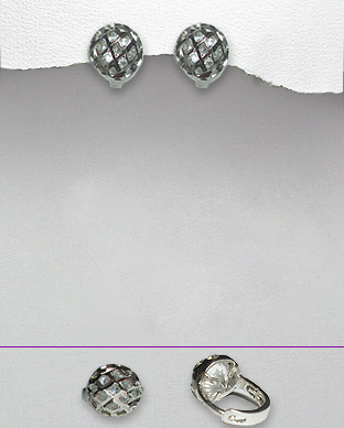 <b>Sterling silver - white zirconia earrings</b>