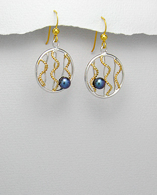 <b>14 k gold plated silver and fresh water pearls earrings</b>