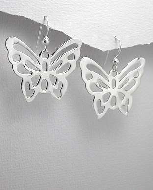 <b>Sterling silver earrings - butterflies</b>
