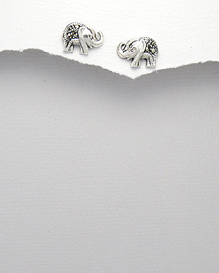 <b>Silver- marcasite earrings - little elephants</b>