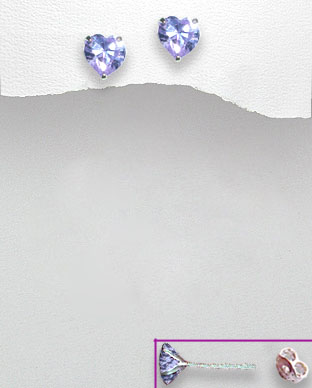 <b>Sterling silver and zirconia  lavender hearts earrings</b>