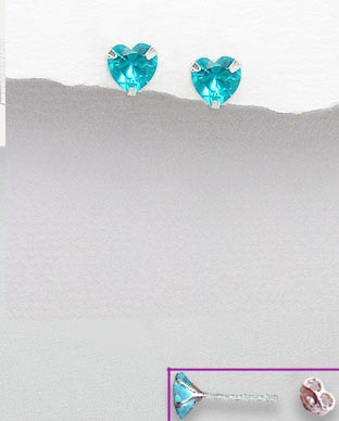 <b>Sterling silver and zirconia  blue hearts earrings</b>