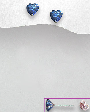<b>Sterling silver and zirconia dark blue hearts earrings</b>