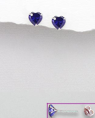 <b>Sterling silver and zirconia  purple hearts earrings</b>