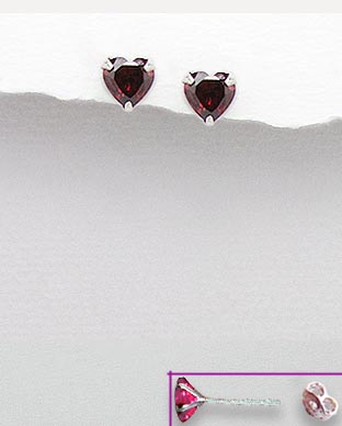 <b>Sterling silver and zirconia red hearts earrings</b>