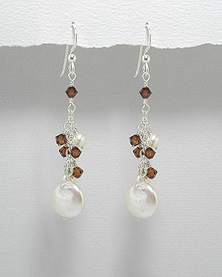 <b>Special silver,pearls and Swarovski crystals earrings</b>