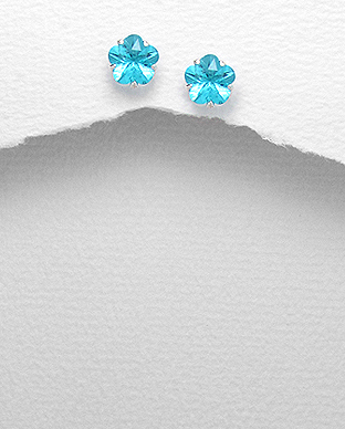 <b>Fine silver and zircon earrings - little flowers</b>