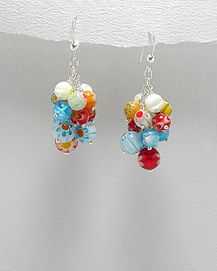 <b>Silver and Millefiori glass earrings</b>