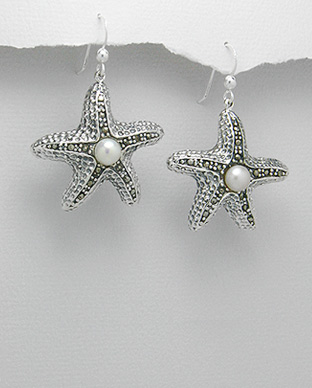<b>Silver 925, marcasite and fresh water pearls earrings</b>