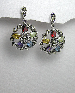 <b>Special silver 925, zirconia and marcasite earrings</b>