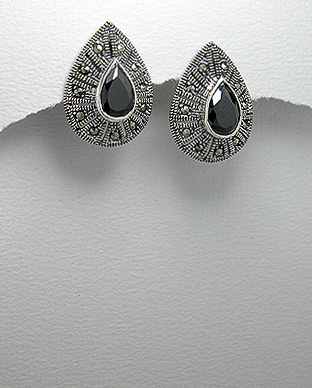 <b>Silver 925, purple zirconia and marcasite earrings</b>